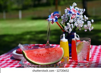 Old Fashioned Picnic with Slice of Watermelon