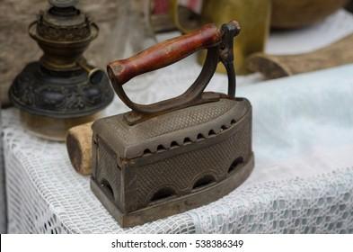 old fashioned retro metallized heavy antique iron tool