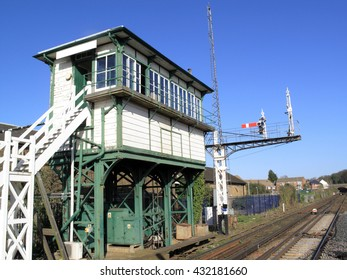 Old fashioned rural railway signal box in England, UK