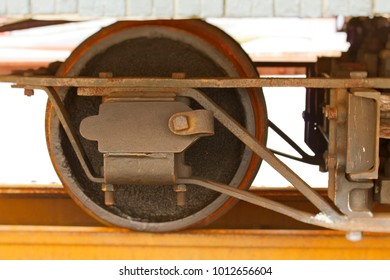 old fashioned rusty wheel from narrow-gauge train
