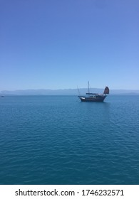 old fashioned sail boat on the calm sea near the low isles on the great barrier reef in Australia