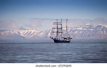 Old fashioned tall ship in harbor near Spitsbergen, Norway