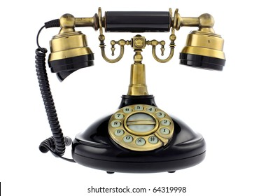 Old fashioned telephone isolated on white background. Studio work.