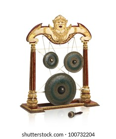 Old fashioned Thai gong musical instrument antique they use in special celebration ceremony