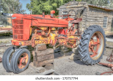 Old fashioned tractor.  Photograph created in HDR.