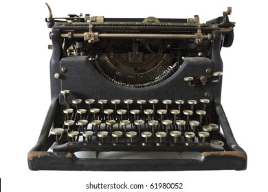 An old fashioned typewriter against a white background