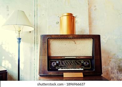 Old fashioned vintage radio tuner.