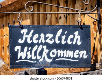 old fashioned welcome sign - germany