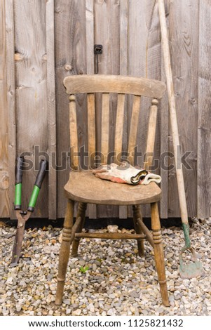 Old Fashioned Wooden Chair Work Gloves Stock Photo Edit Now