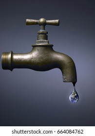 Old faucet with world drop, abstract on blue dark background