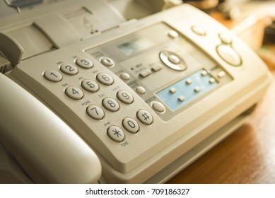Old fax machine in office company on the table