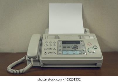 old fax machine on the table