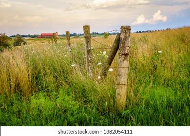 Old fence on a farm in Bluegrass region of Kentucky