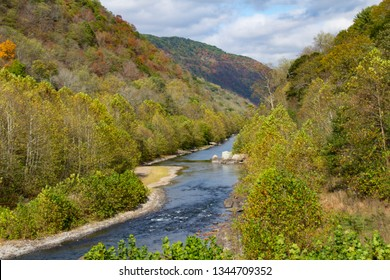 Old Fields, WV - October 13, 2017: The Trough section of the South Branch of the Potomac River as seen from the Potomac Eagle Scenic Railroad out of Romney, WV.