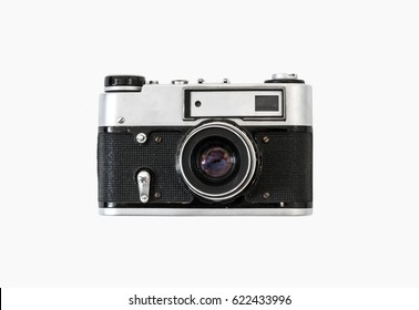 Old film camera. White background close-up. Vintage photo