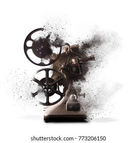 Old film projector exploding isolated on white