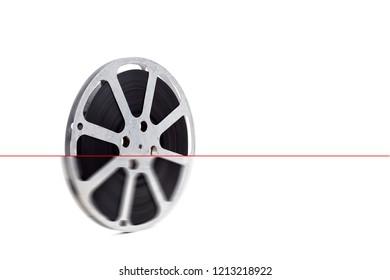 old film reel on white background