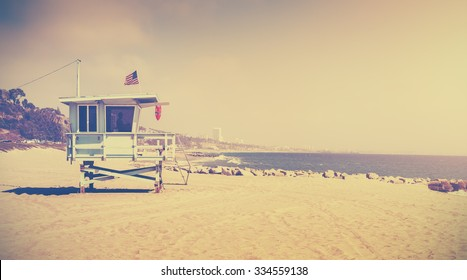Old film retro stylized lifeguard tower, Santa Monica, USA.
