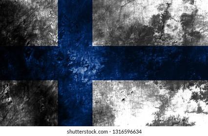Old Finland grunge background flag