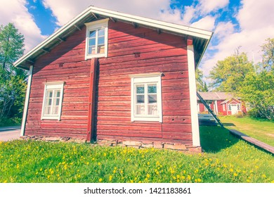 Old finnish house in summer landscape. Kuhmo, Finland.