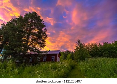Old Finnish house in summer night. Photo from Sotkamo, Finland.