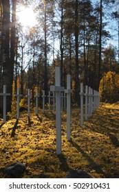 Old Finnish military cemetery in Lumivaara, Karelia