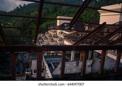 Old Fire Hotel abandoned at Phuket Thailand