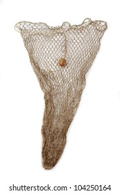 Old Fish net on a white background.