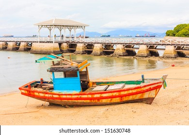 old fisherman boat in Si Chang District, gulf of thailand