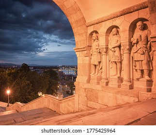 The Old Fishermen Bastion at night in Budapest, Hungary