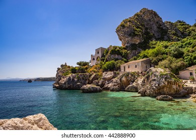 Old fishermen houses at bay, Tonnara at Scopello, Sicily, Italy