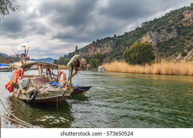 Old fishing boat in Dalyan river in Dalyan, Turkey