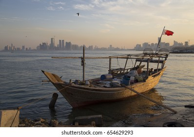 The old fishing boat on the waterfront in Manama Bahrain.