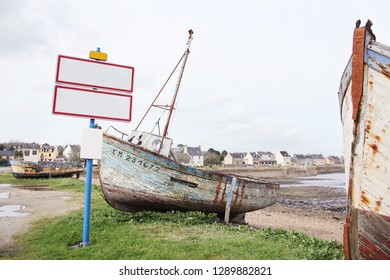 old fishing boat and panel with copy space