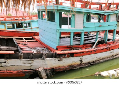 old fishing boat are ruins or abandoned and sink or down in water lake