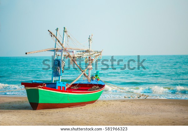 old fishing boat in the sea in Thailand