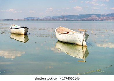 Old fishing boats on the lake