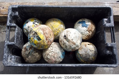 Old Fishing Floats in a Plastic Box