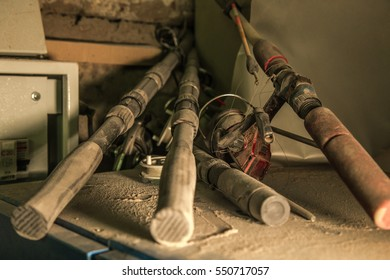 old fishing rods on the table