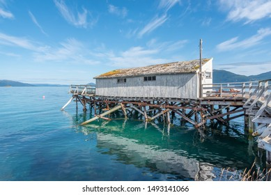 Old fishing shack and dock in Senja Island in arctic Norway
