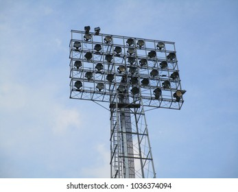 Old floodlight mast in a football stadium