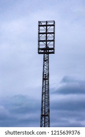 An old floodlight mast in a football stadium
