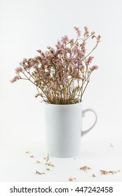 Old flower In White Coffee Cup On White Background
