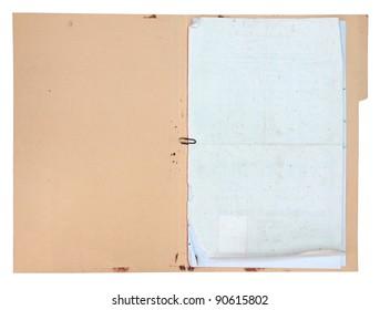 Old folder on white background
