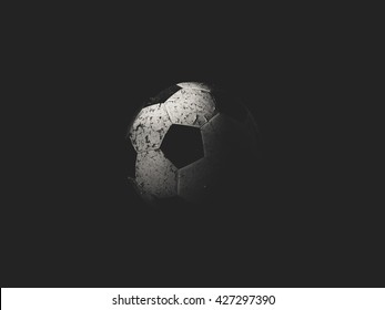 Old football ball black and white