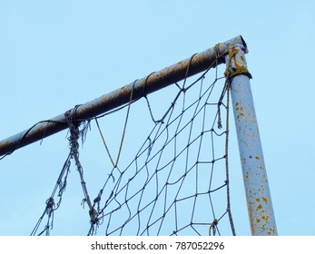 old football gate with a strained net