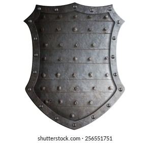 Old forged medieval shield with rough spikes isolated