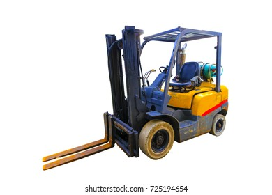 Old Forklift use NGV gas for safe cost isolated on white background