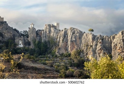 Old Fort and castle in the mountains. The City Guadalest. Spain