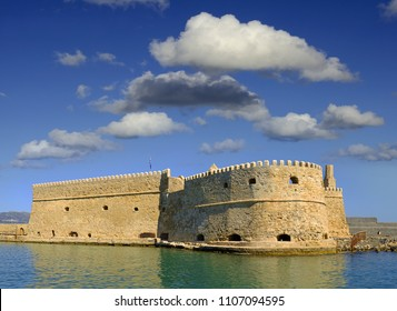 The old fort and venetian harbor in Heraklion. Heraklion is the largest city of Crete, Greece